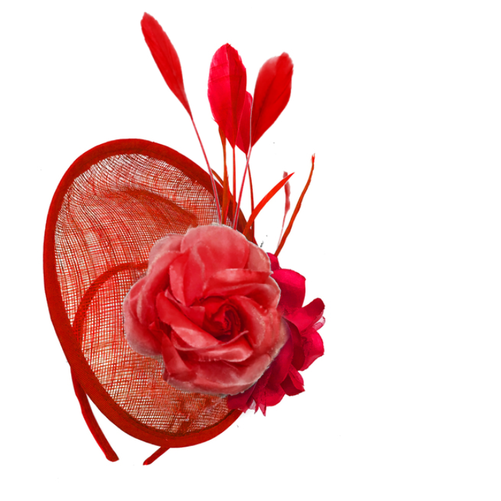 Scarlet Red Sinamay Rose Disc Saucer Fascinator Hat on Headband