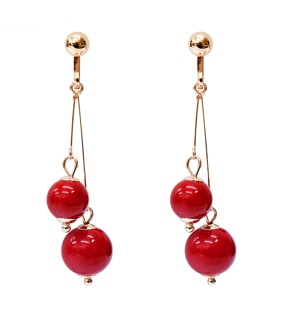 Crystal Drop Dangle Clip On Earrings Tassel Non Pierced Round Red Bead Gold