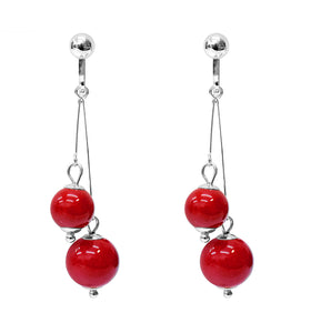 Crystal Drop Dangle Clip On Earrings Tassel Non Pierced Round Red Bead Silver