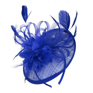 773b787286ccb Cobalt Royal Blue Fascinator sinamay saucer disc for weddings and ascot  races caprilite uk online shop