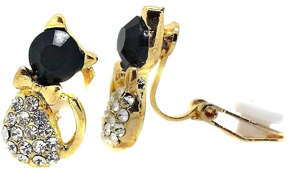 Gold and Black Kids Cat Stud Clip-On Earrings Ladies and Girls Caprilite UK Online Store Jewellery
