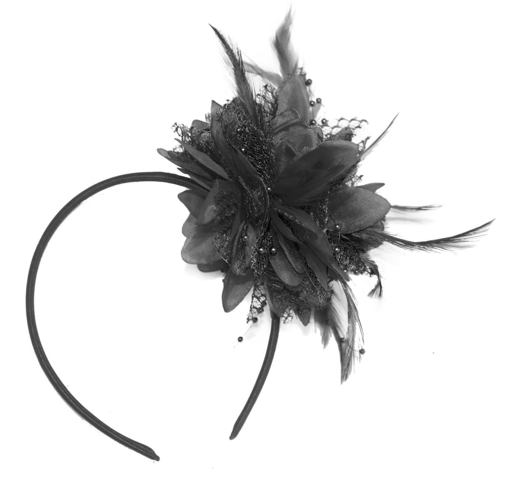 Small Black Fascinator on Headband for Weddings and Races