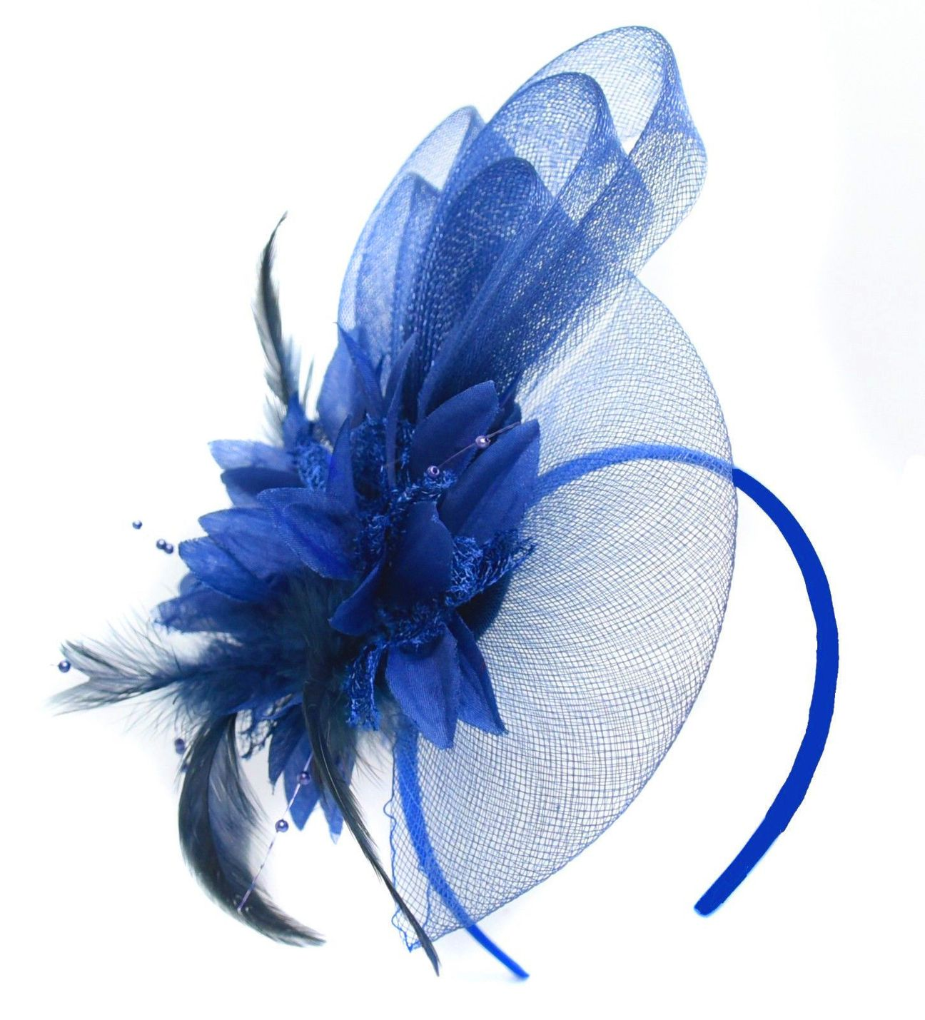 electric colbalt royal blue fascinator on headband Caprilite UK Online Store