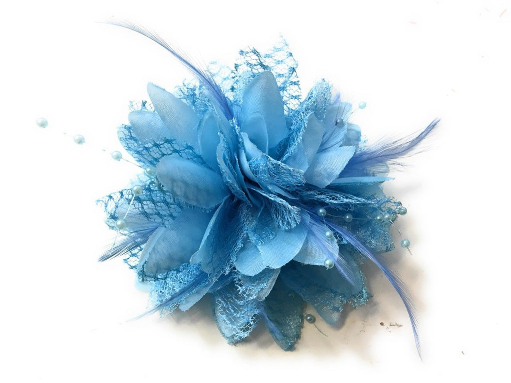 Light pale Sky Blue Classic Flower Fascinator - Clip, Band Pin Corsage