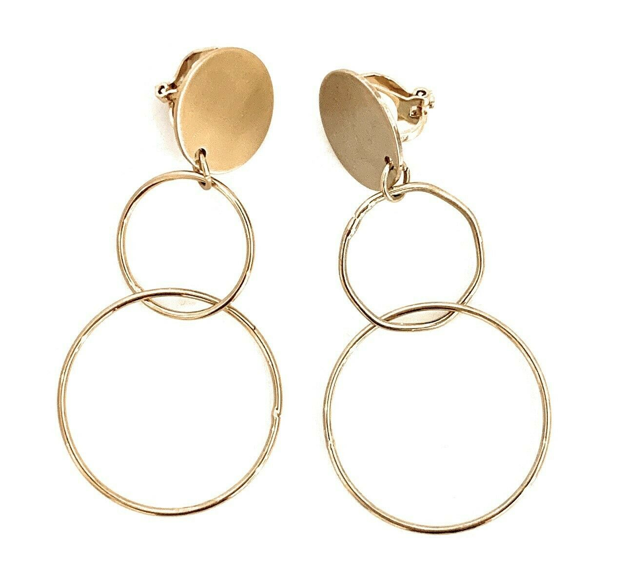Women's Girls' Fashion Dangle Hoop CLIP ON Hoops Earrings Light Weight Copper - Vintage Gold