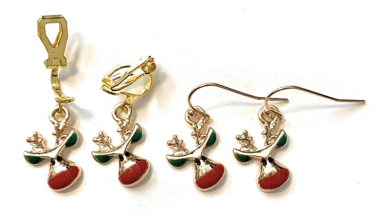 Girls Gold Christmas Drop Dangle Earrings Red Green White - Pierced or Clip On