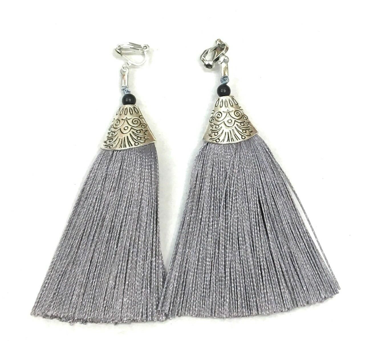 Silver Grey Long Funky Tassel Chandelier Silver Dangle Party Earrings - Pierced or Clip On