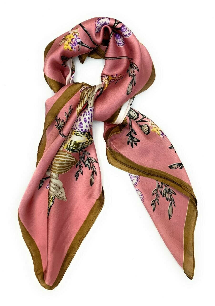 Big Square Ladies Womans Faux Silk Head Neck Thin Scarf Bag Charm - 70cm x 70cm [Baby Pink Shell Floral]