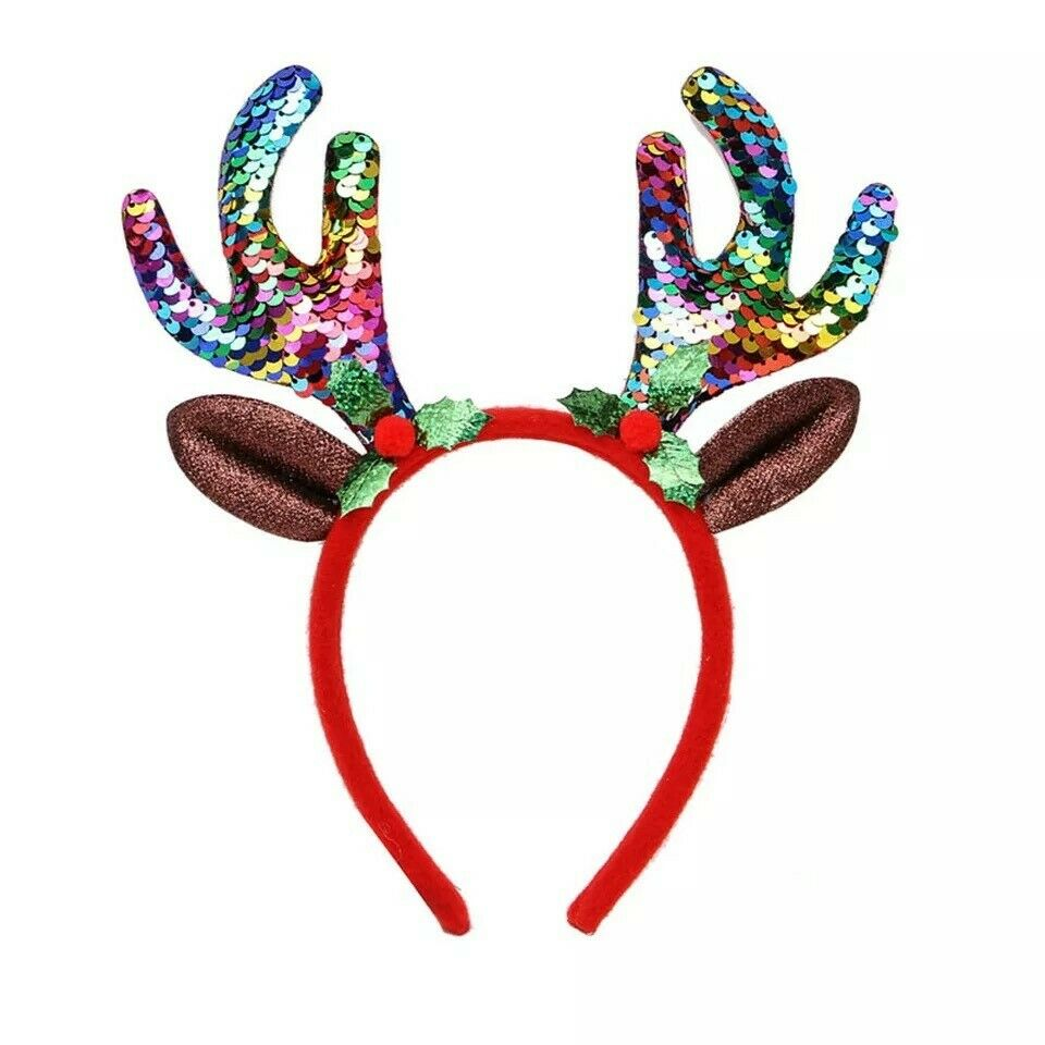 Girls Rainbow Sequin Reindeer Antlers Christmas Deer Ears Headband Headbopper School Navitity
