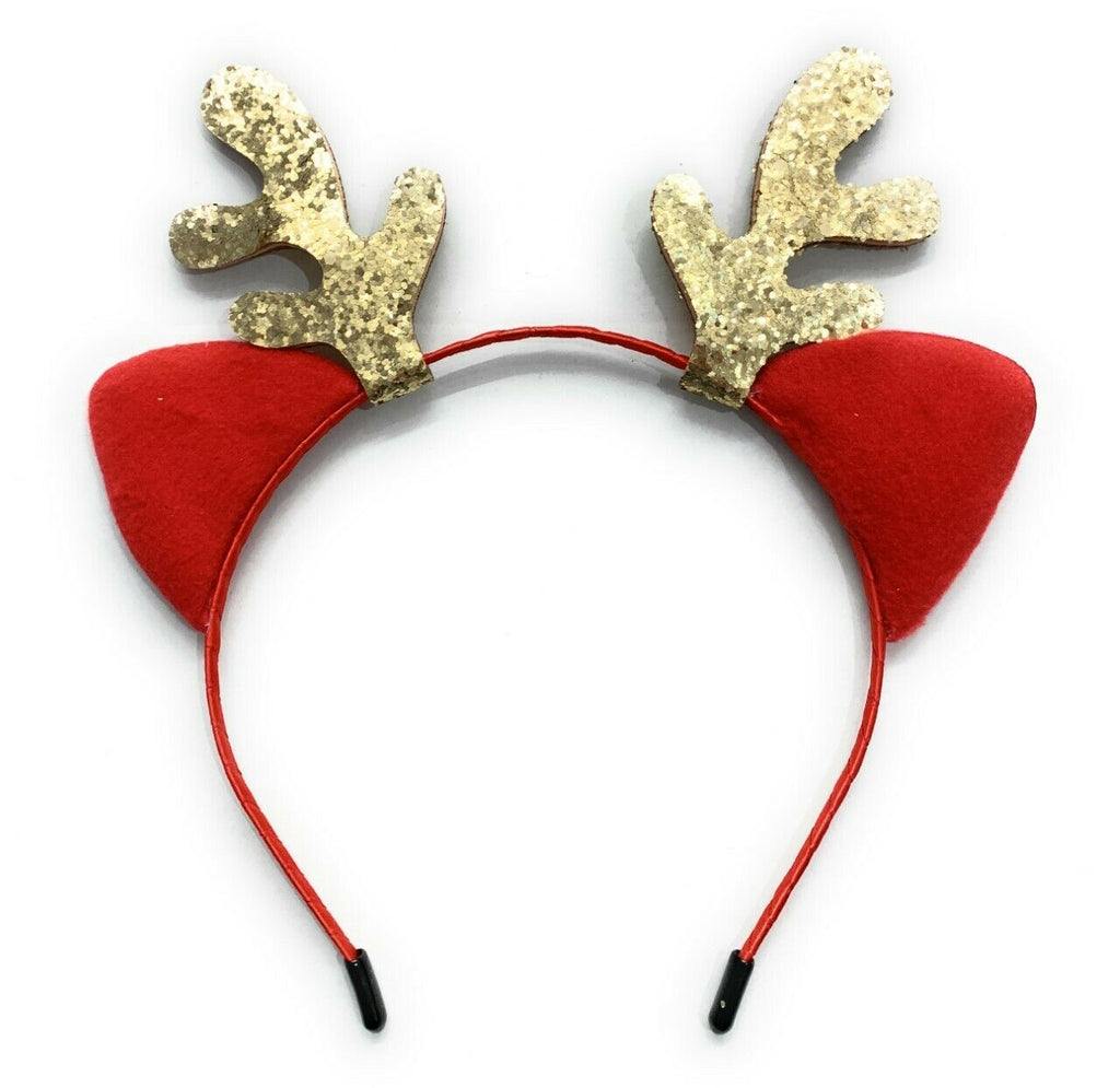 Girls Red Cat Ear Gold Glittery Reindeer Antlers Christmas Deer Ears Headband School