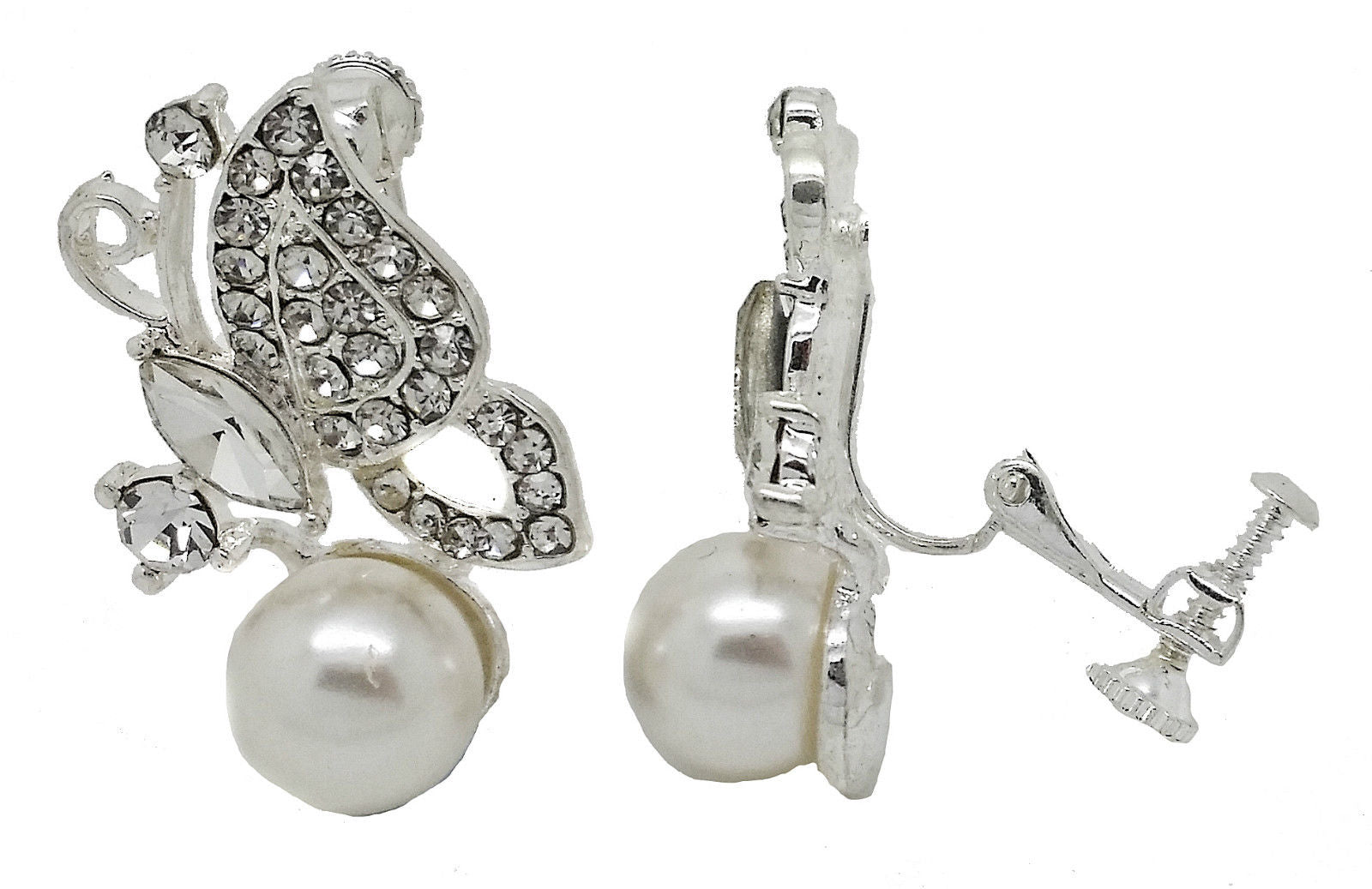 Butterfly Crystal and Pearl Silver Crystal Clip On Stud  Earrings caprilite online store UK Weddings