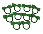 10 Girls Toddlers Hair Bow Elastic Bobbles Set - Primary School Colours - Green