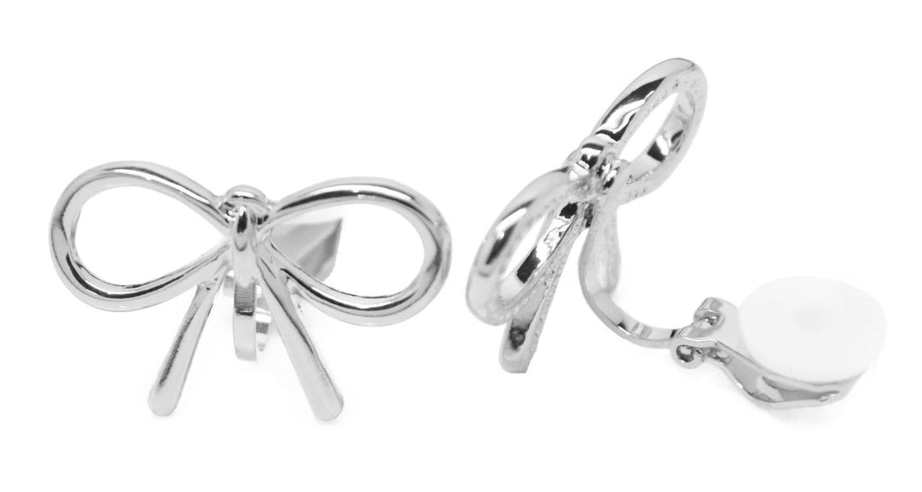 Silver Tone Copper Bow Stud Clip-On Earrings Ladies and Girls Caprilite UK Online Shop Clipon