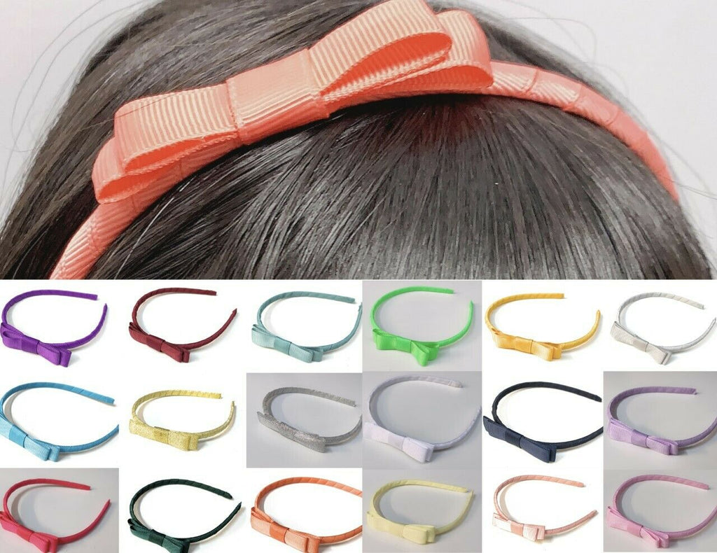 Classic Girls Children's Hair Bow Alice Band Headband Handmade School