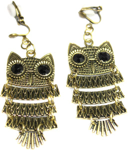 Bronze Owl Dangle Drop Clipon Clip-on Earrings Womens Ladies Goth Kids Girls