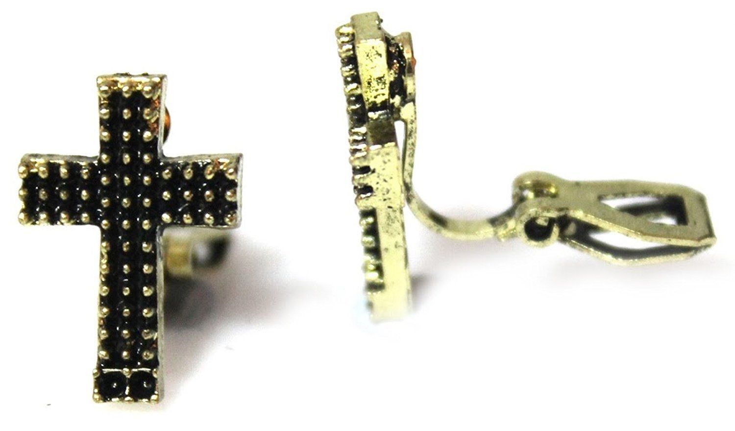 Click to view larger image Have one to sell? Sell it yourself Bronze Cross Clipon Clip-on Earrings Womens Ladies Goth Kids Girls