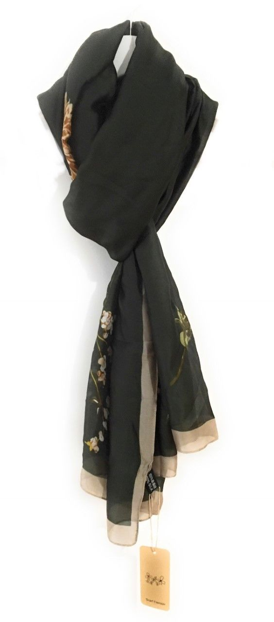 90x180cm Large Dark Green Flowers Ladies Womens Maxi Scarf Hijab Shawl Pashmina Faux Silk