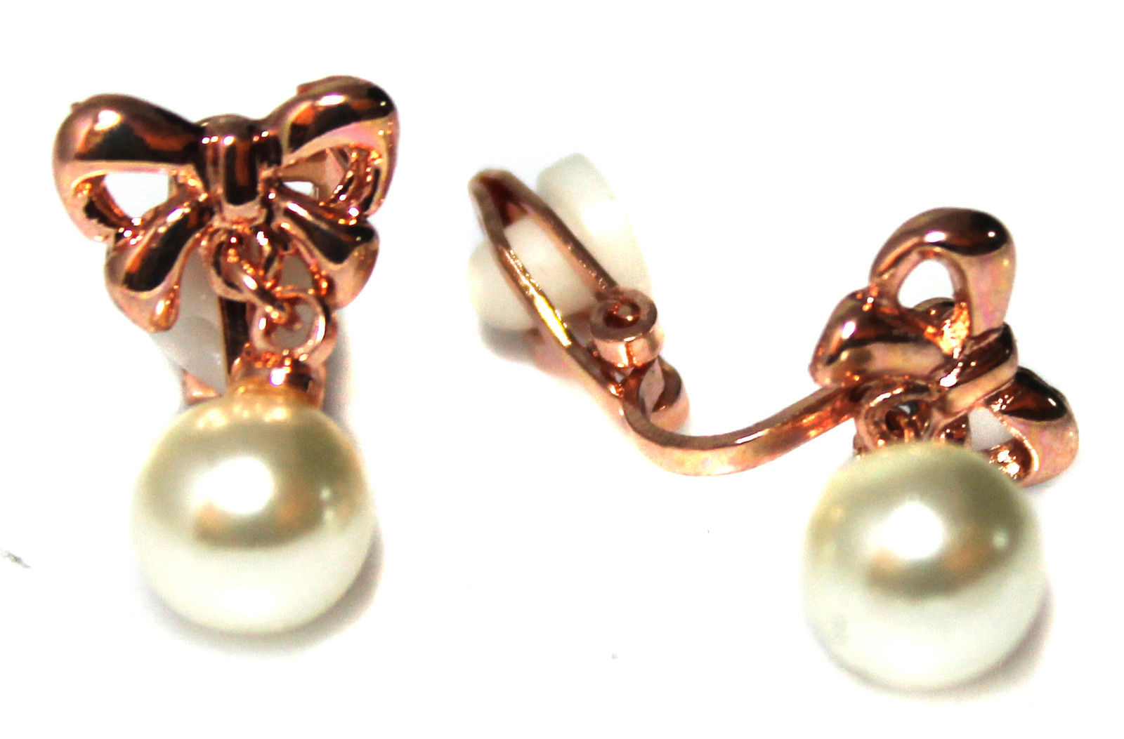 Classic Rose Gold Tone Bow w/ Pearl Drop Girls Womans CLIP ON Earrings Caprilite UK online shop kids