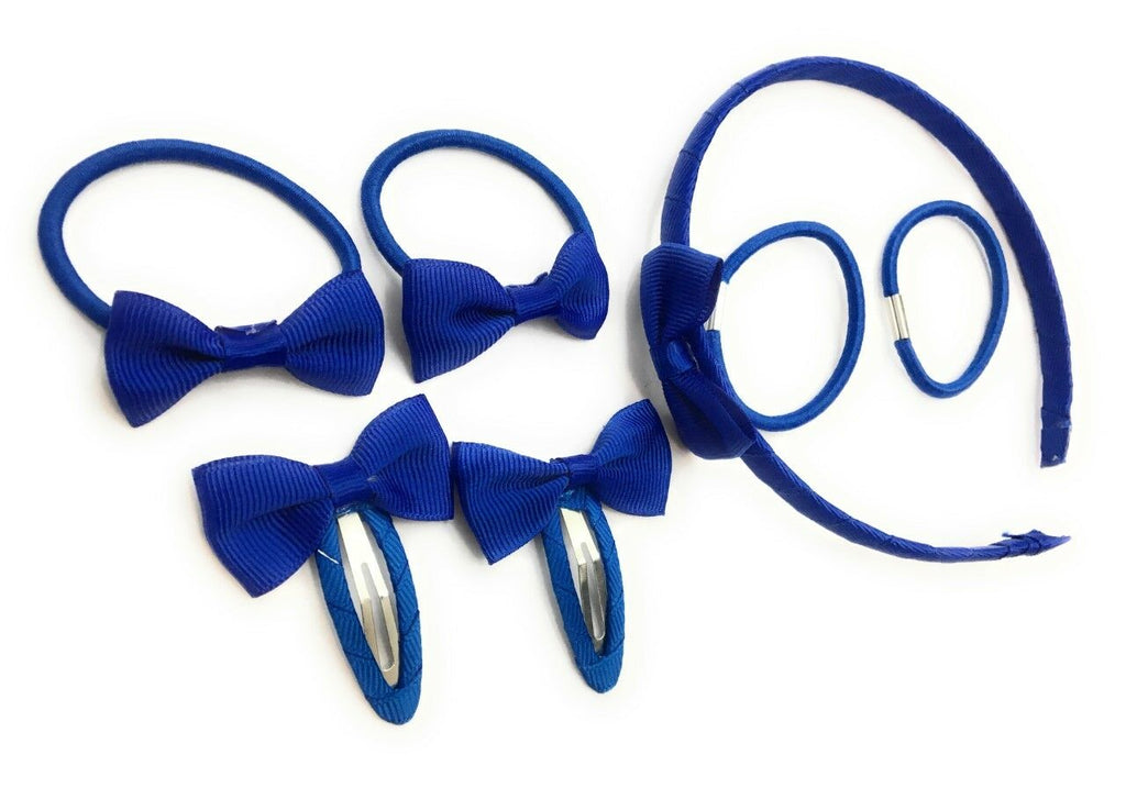7 PIECE SCHOOL COLOURS Hair Bow Snap Clips SET ALICE BAND PONIOS PonyTail Holder Headband - Royal Blue
