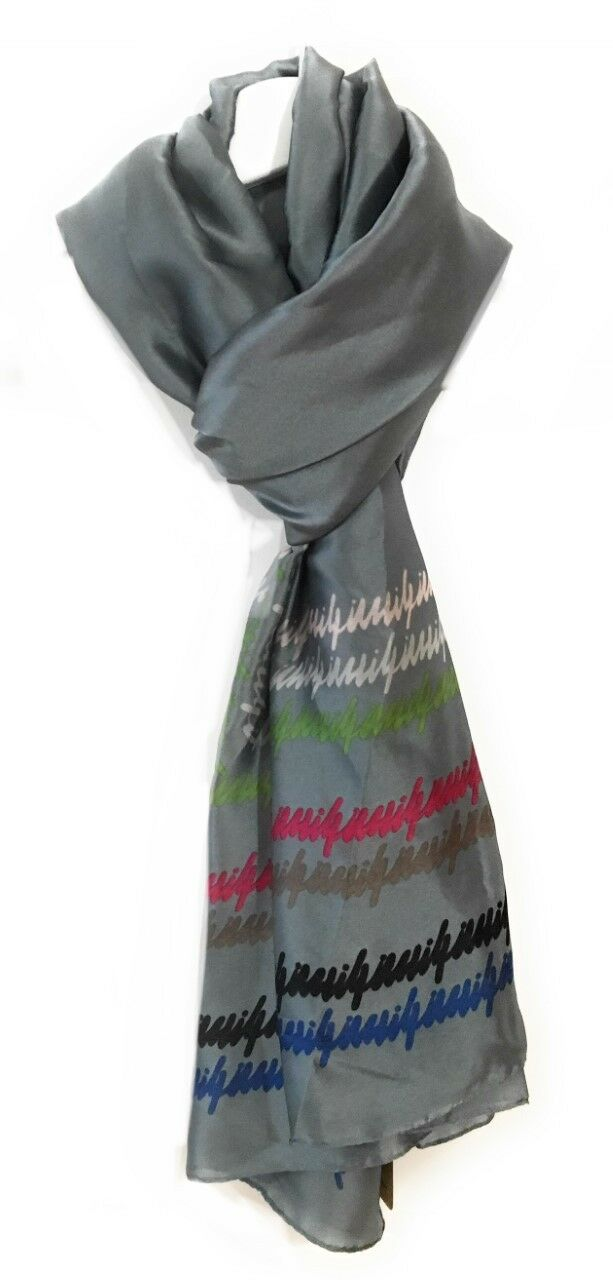 90x180cm Large Grey Graffiti Ladies Womens Maxi Scarf Hijab Shawl Pashmina Faux Silk