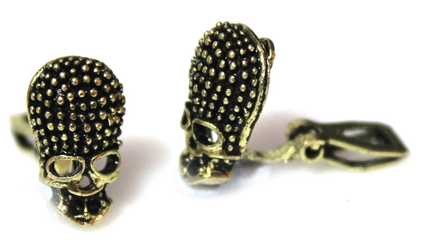 Bronze Skull Clipon Clip-on Earrings Womens Ladies Goth Kids Girls Caprilite UK Online Shop
