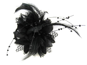 Small Flower Black Fascinator Clip