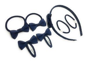 7 PIECE SCHOOL COLOURS Hair Bow Snap Clips SET ALICE BAND PONIOS PonyTail Holder Headband - Navy Blue