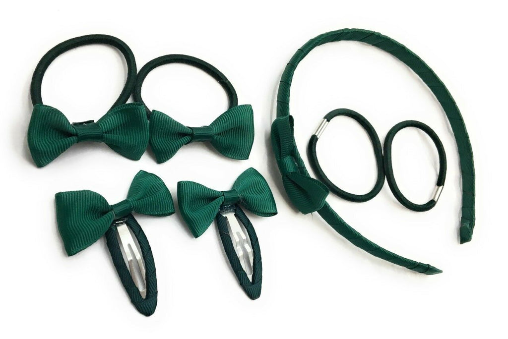 7 PIECE SCHOOL COLOURS Hair Bow Snap Clips SET ALICE BAND PONIOS PonyTail Holder Headband - green