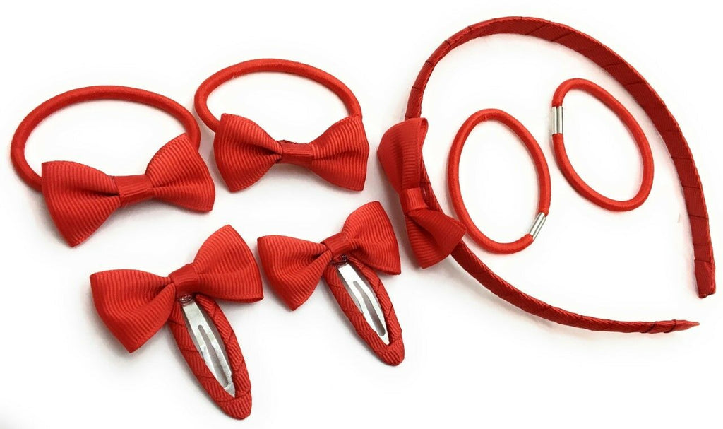 7 PIECE SCHOOL COLOURS Hair Bow Snap Clips SET ALICE BAND PONIOS PonyTail Holder Headband - Red
