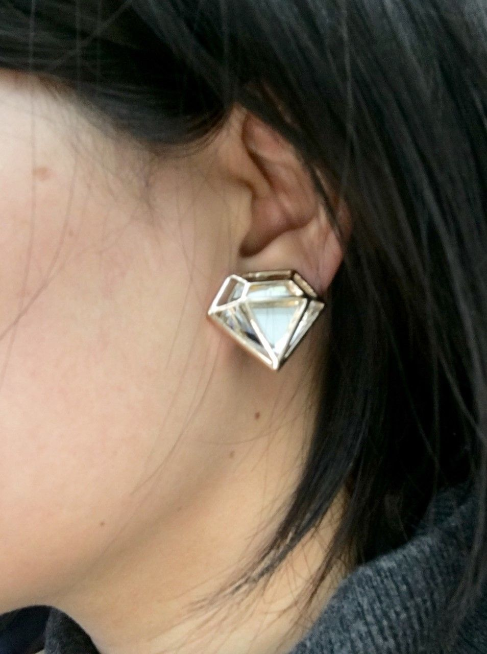 Gold Tone Diamand Shape Superwoman Diamante CLIP ON Earrings Studs model worn