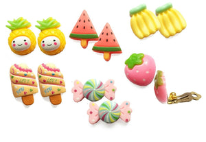 6 Pack Fruit Set Kids Girls Childrens Clip On Earrings Unpierced ears