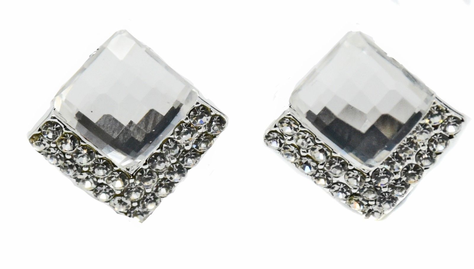 Square Rhombus Non-Pierced Crystal Silver Stud Diamante Clip On Earrings CZ