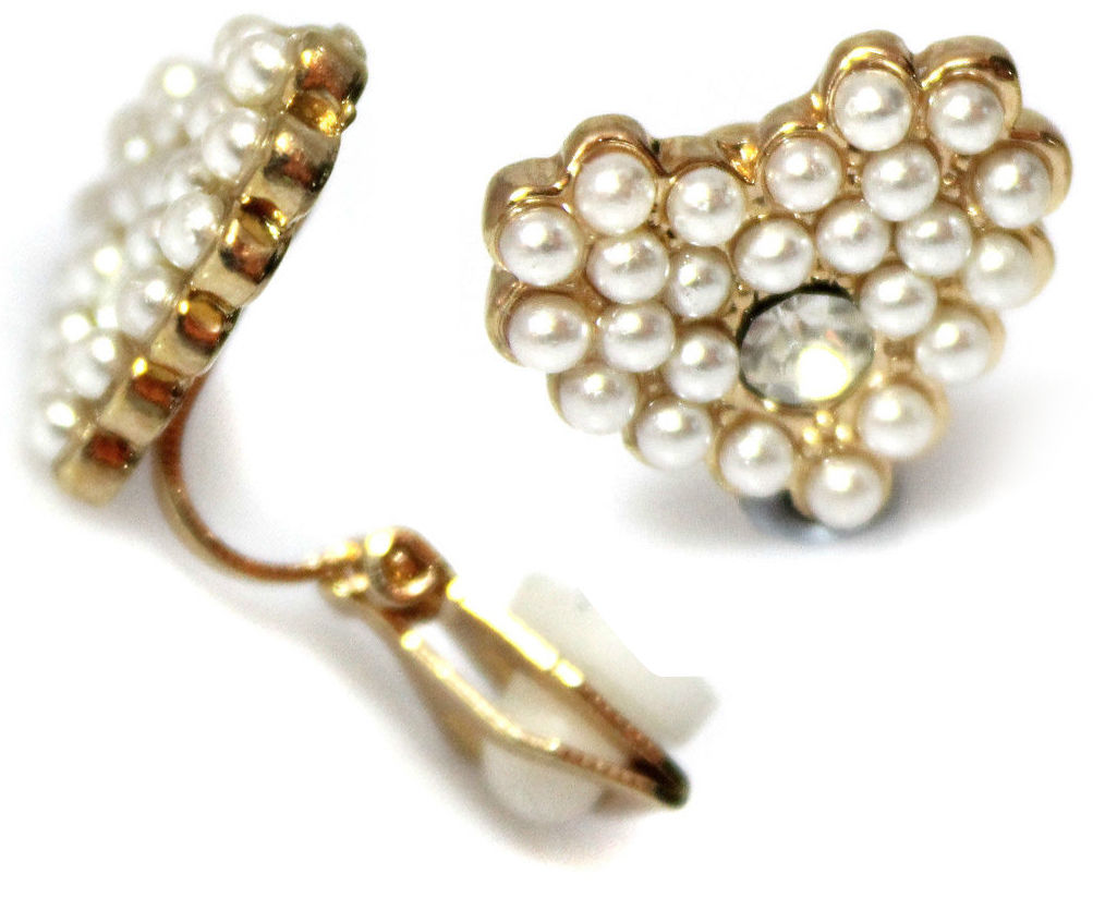Pearl Cluster Heart Gold Clip On Earrings Stud Kids Caprilite UK Online Store