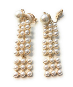 Long Faux Pearl Dangle Drop Clip on Earrings Women Ladies Clipon Tassel Bridal Caprilite UK Online Shop