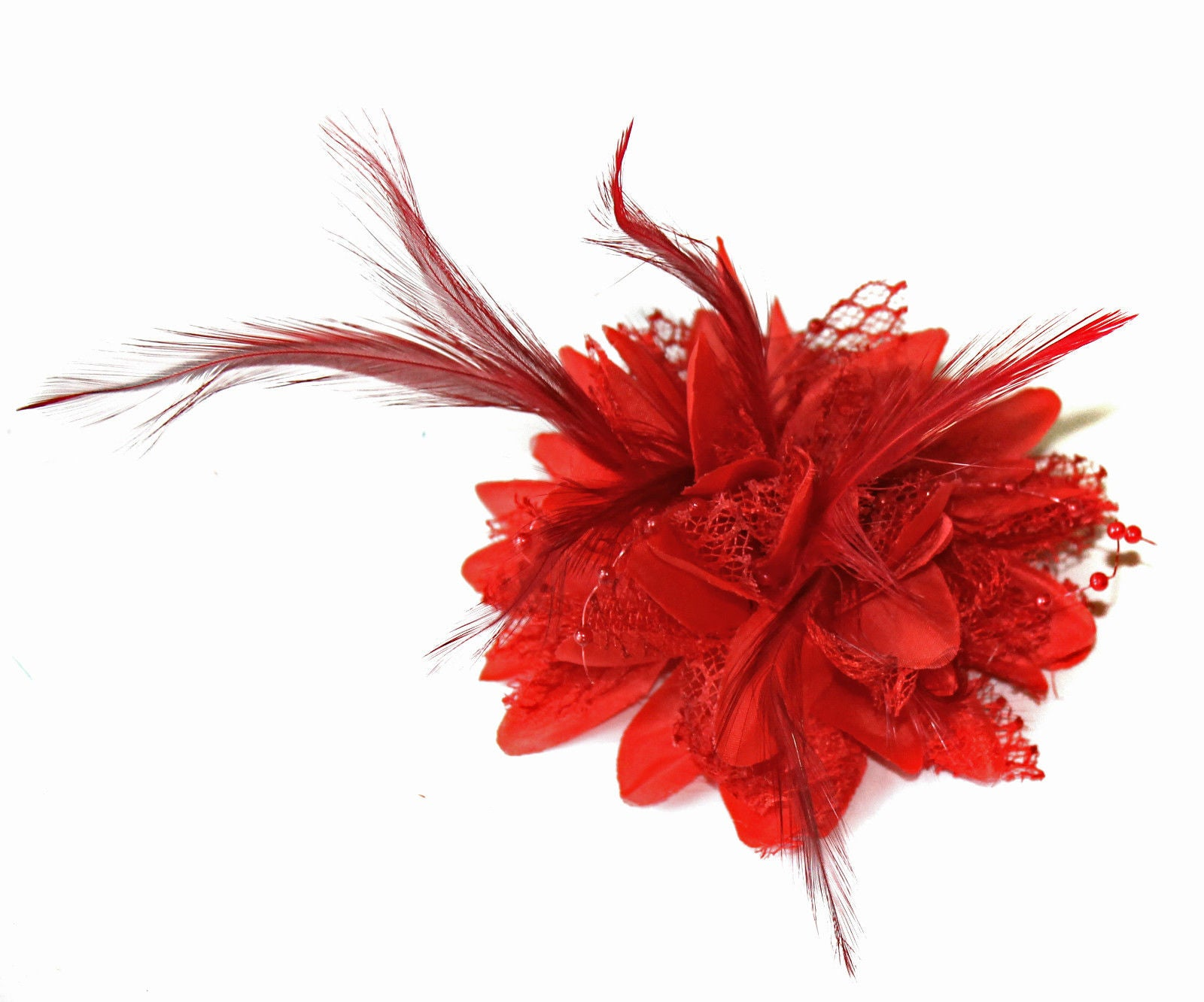 Scarlet red fascinator for weddings small on clip UK