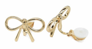 Gold Tone Copper Bow Stud Clip-On Earrings Ladies and Girls Caprilite UK Online Shop