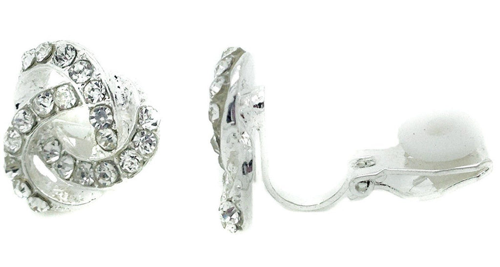 Knot Swirl Stud Clip on Earrings Crystal Women Ladies Clipon Silver Bridal Caprilite UK Online Store