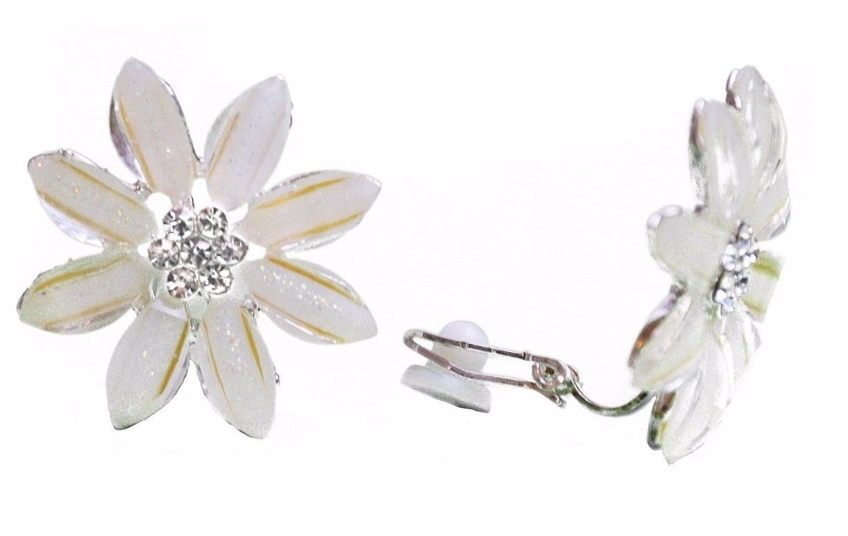 Cream Flower Clip-on  Stud Kids Womens Girls Earrings Bridal Crystal Caprilite UK Online Shop