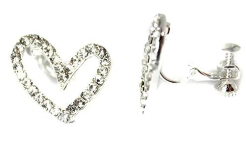 Heart Non-Pierced Crystal Silver Stud Diamante Clip On Earrings CZ Cushion Caprilite UK Online Jewellery Store