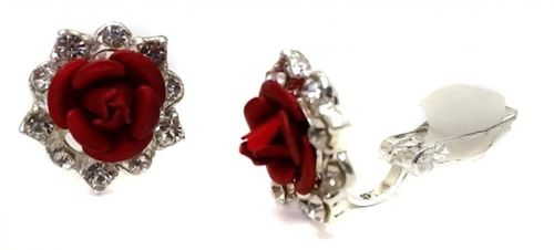 Silver Rose Crystal Clip On Earrings Stud Earrings Childrens Girls Womens Bridal children girls kids UK Online Shop