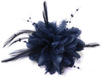 Navy blue small fascinator on clip for weddings and bridesmaids uk