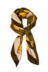 Spring Summer Big Square Ladies Womans Faux Silk Head Neck Thin Scarf Bag Charm - 70cm x 70cm[Yellow Green Geometric]