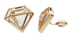 Gold Tone Diamand Shape Superwoman Diamante CLIP ON Earrings Studs