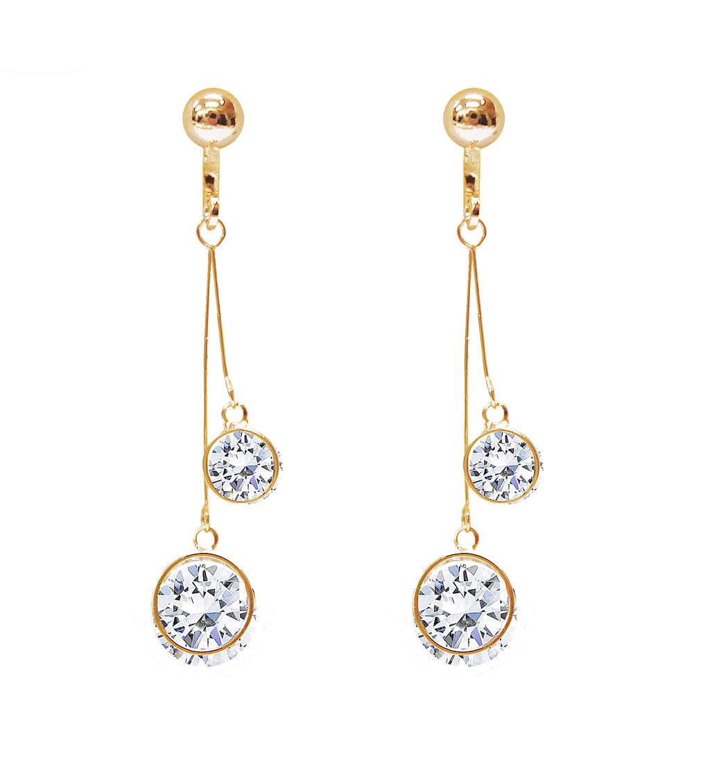 Crystal Drop Dangle Clip On Earrings Tassel Non Pierced Round Circle Gold