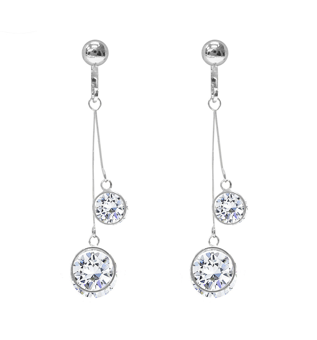Crystal Drop Dangle Clip On Earrings Tassel Non Pierced Round Circle Silver