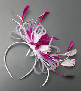 White and Fuchsia Hoopmix Fascinator on Headband