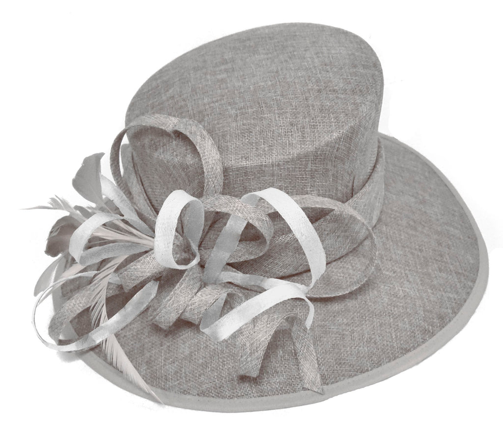 Silver Grey and White Large Queen Brim Hat Occasion Hatinator Fascinator Weddings Formal