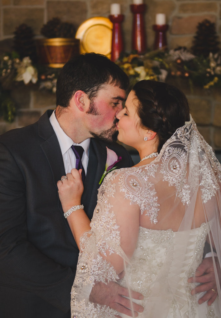 Mantilla Lace and Crystal Drop Wedding Veil