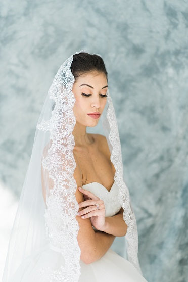 Drop Wedding Veil Waltz Length Sequined Lace