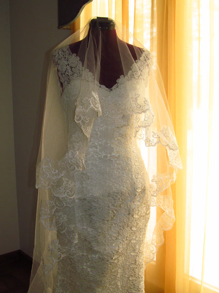 Mantilla Lace Drop Wedding Veil